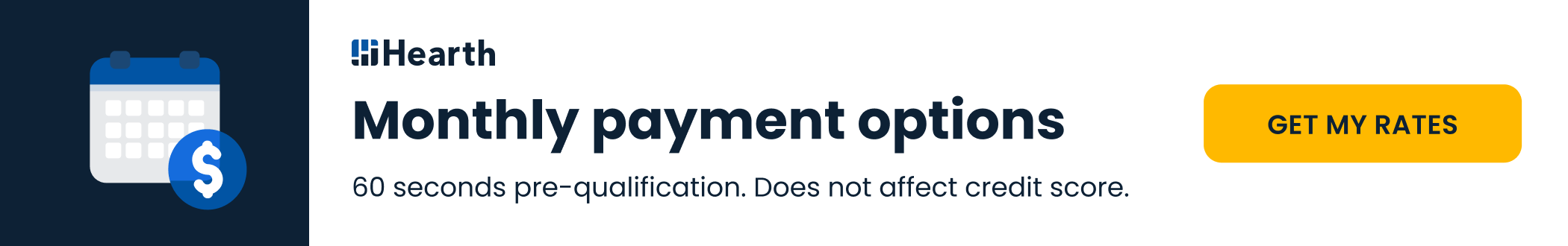 Monthly payment options 60 seconds pre-qualification. does not affect credit score. Get My Rates
